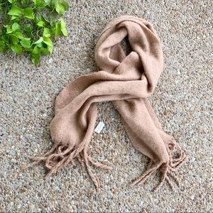 Francesca's Oversized Soft Tan Tassel Scarf Wrap
